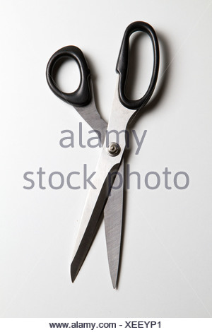 Scissor on white background, close up - Stock Photo
