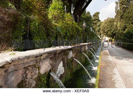 Le Cento Fontane, The Hundred Fountains, at Villa d'Este gardens, Tivoli, Lazio, Italy, Europe - Stock Photo