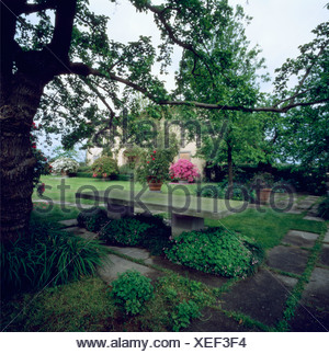 Stone Bench On Terrace Beneath Tree In Italian Country Garden