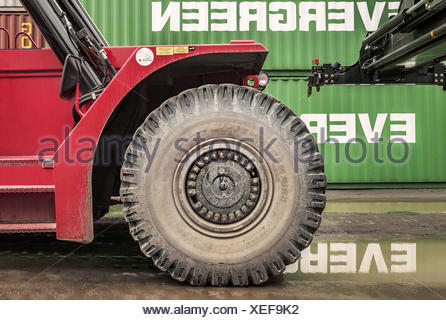 The wheel of the container crane - Stock Photo