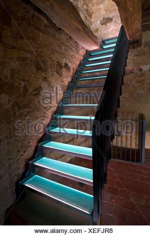 Switzerland, Europe, Schaffhausen, Stein am Rhein, castle, medieval, stair, wall - Stock Photo
