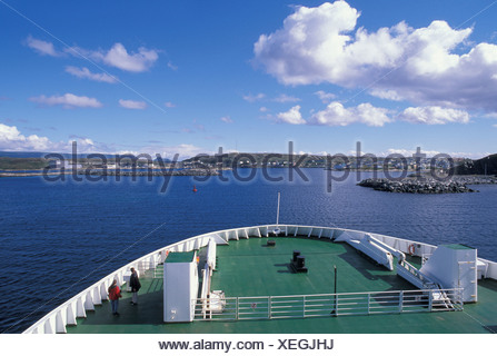Ferry, boat, Port aux Basques, Newfoundland, Canada, sea - Stock Photo