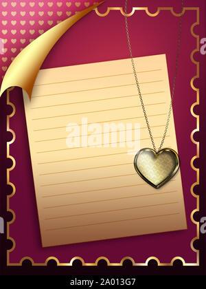 Schöne Grußkarte mit Blatt Papier und goldenes Herz Anhänger. - Stockfoto