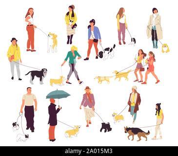 Satz von viele Leute gehen mit ihren Hunden. Männer und Frauen im Freien mit Haustieren. Corgi, Labrador, Retriever, Deutscher Schäferhund, Retriever, Chihuahua - Stockfoto