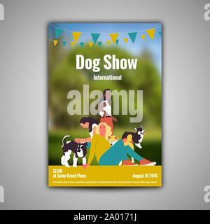 Plakat Vorlage für Dog Show mit drei Mädchen mit ihren Hunden - Stockfoto