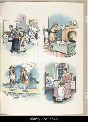 Hilfreich Pfadfinder und ein glückliches Zuhause leben, traditionell eine glückliche Familie Sortiment von Vintage Abbildungen - Stockfoto