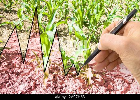 Hand eine Grafik im Hintergrund ein bebautes Feld schreiben - Konzept Bild - Stockfoto