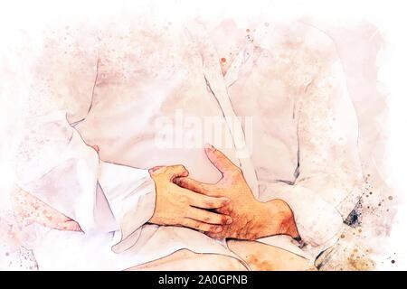 Abstrakte farbenfrohe Close-up schwangere Frau mit Mann und Hug auf weißem Hintergrund auf Aquarell illustration Malerei Hintergrund. - Stockfoto