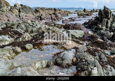 Geschichtete Schichten von Felsen und Pools am Strand von Portwrinkle, Plymouth, Devon - Stockfoto