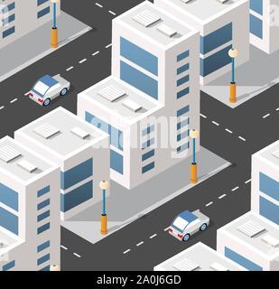 Urban isometrische Bereich - Stockfoto