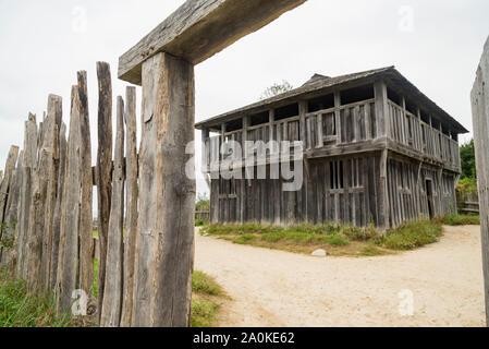 Alte Gebäude in Plimoth Plantation in Plymouth, MA - Stockfoto