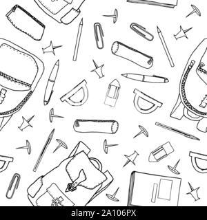 Hand gezeichnet Schule Schreibwaren nahtlose Muster. Vector Illustration mit outline Schreibwaren Artikel für Geschenkpapier, Hintergrund, Hintergrundbilder, etc. - Stockfoto