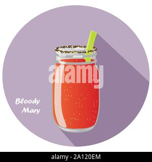 Vector Illustration von Bloody Mary Vodka und Tomatensaft Cocktail in Mason jar mit Sellerie garnieren und langen Schatten Design. - Stockfoto