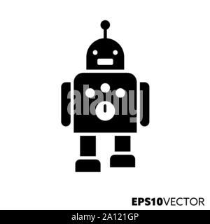 Roboter glyph Icon. Feste schwarze Symbol für Wissenschaft und Robotik. Künstliche Intelligenz flachbild Vector Illustration. - Stockfoto