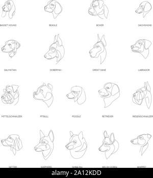 Rassen von Hunden im minimalistischen Stil eingerichtet. Eine Zeile Hunde. Minimale Vector Illustration. - Stockfoto