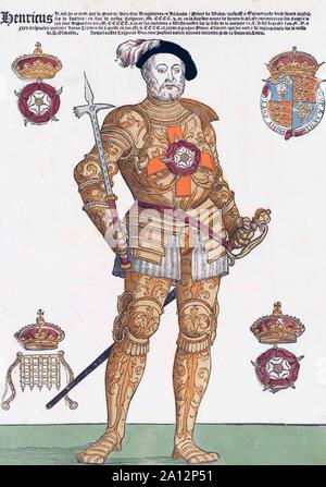 König Heinrich VIII. von England, 1491 - 1547. Nach einem zeitgenössischen Kupferstich. Später einfärben.