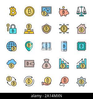Satz von Bitcoin und Cryptocurrency flachen Farbe Symbole. Packung mit 48 x 48 Pixel Icons - Stockfoto