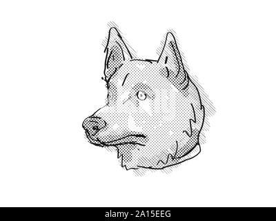 Retro Cartoon Stil Zeichnung der Kopf einer Corgi Inu ein Mischling dogCa Kreuz zwischen Shiba Inu und Corgi Hund auf isolierten weißen Hintergrund in blac getan - Stockfoto