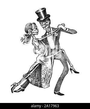 Tanzende Skelette. Halloween banner Vorlage. Tag der Toten. Hand graviert Skizze für Tattoo, t-shirt oder Logo. - Stockfoto