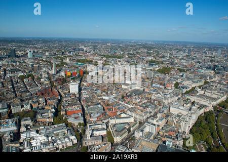 Soho, Holborn und Theatreland als aus der Luft gesehen. - Stockfoto