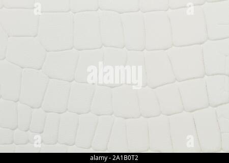 Ein weißes Leder Tuch mit Reptil Textur in der Nähe zu sehen. - Stockfoto