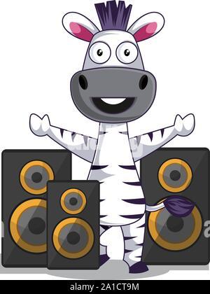 Zebra mit Lautsprechern, Illustration, Vektor auf weißem Hintergrund. - Stockfoto