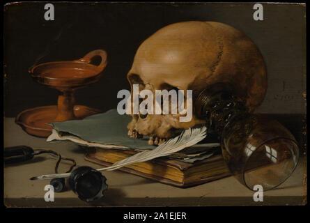 Stilleben mit Schädel und ein Schreiben von Pinole, 1628.jpg - 2A 1 EJER - Stockfoto