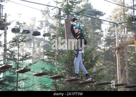 Teenaged Jungen genießen Klettern in einem treetop Adventure Park - Stockfoto
