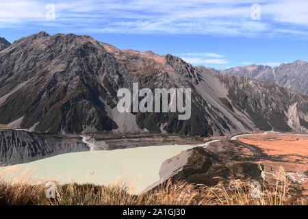 Muller hut Track in Neuseeland, Südinsel, Mount Cook, Blick auf See und Hooker Lake Mueller