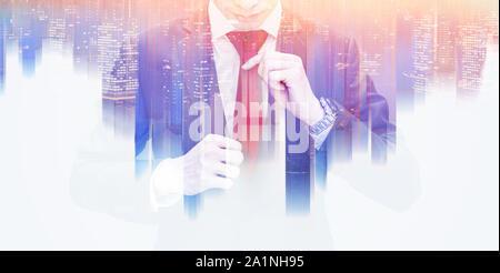 Double Exposure Geschäftsmann binden rote Krawatte und futuristische bunte Stadt Wolkenkratzer - Stockfoto