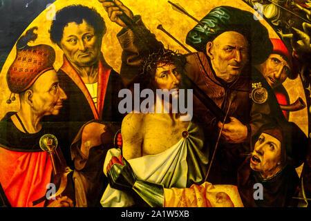 Valencia das Museo de Bellas Artes in Valencia: Hieronymus Bosch Triptychon der Passion, detail Ausschnitt Spanien - Stockfoto