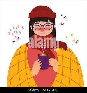 Junge Mädchen in Red Hat kalt erwischt die Grippe oder Virus. - Stockfoto