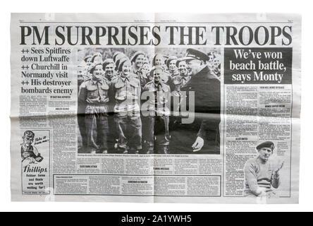 Eine Reproduktion im inneren Seite der Daily Mail vom 7. Juni 1944 mit Nachrichten über Winston Churchill die Truppen - Stockfoto