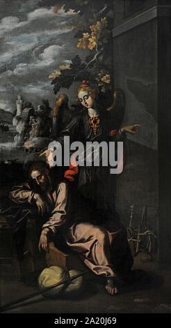 Francisco Pacheco (1564-1644). Spanischer Maler. Der Traum des Hl. Josef. San Fernando Königliche Akademie der Schönen Künste in Madrid. Spanien. - Stockfoto