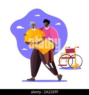 Lieben Sohn nahm seinen alten behinderten Mutter aus dem Rollstuhl ihre Durchführung in seine Arme. Die Unterstützung der Familie Konzept Abbildung - Stockfoto