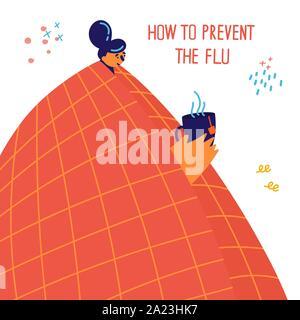 Junge Mädchen in orange Decke erwischt Erkältung oder Grippe - Stockfoto
