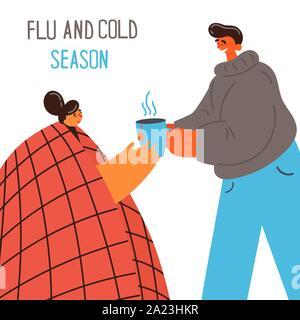 Der Kerl gibt Kaffee zu seinem Mädchen erwischt Erkältung oder Grippe - Stockfoto