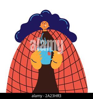 Junge Mädchen in rot Decke kalt erwischt die Grippe oder Virus - Stockfoto