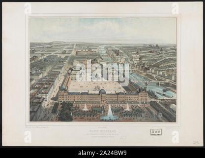 Paris moderne. Les Tuileries, Le Louvre, et la rue de Rivoli, vue Prise du Jardin des Tuileries (nord-ouest) - Stockfoto