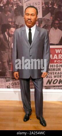 Waxwork Statue, Martin Luther King, Jr. (1929-1968), US-amerikanischer Baptistenpastor und Aktivist, der die sichtbaren Sprecher und Führer in der Bürgerrechtsbewegung - Stockfoto