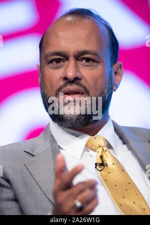 Manchester, Großbritannien. 1. Okt, 2019. Javed Khan, Chief Executive von barnardo's, spricht am Tag drei der Parteitag der Konservativen in Manchester. Quelle: Russell Hart/Alamy leben Nachrichten