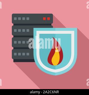 Server shield firewall Symbol. Flache Darstellung der Server shield firewall Vektor Symbol für Web Design - Stockfoto