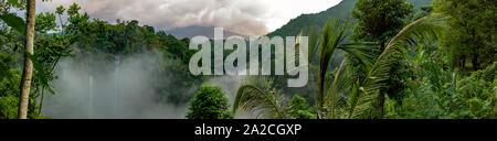 Panoramablick auf den dichten Regenwald und grosse Wasserfälle im dicken Nebel, mit Bergen in der Ferne - Stockfoto