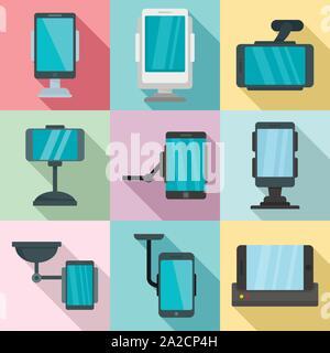 Handy Halter Symbole gesetzt. Flache set Handy Halter Vector Icons für Web Design - Stockfoto