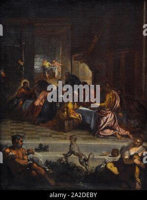 Diego Rodriguez de Silva y Velázquez (1599-1660). Spanischen Barock Maler. Das letzte Abendmahl, 1629-1631. Kopie von einem Gemälde von Tintoretto. San Fernando Königliche Akademie der Schönen Künste in Madrid. Spanien. - Stockfoto