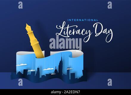 Internationalen Tag der Alphabetisierung Grußkarte Abbildung: papercut Skyline der Stadt mit Füllfederhalter. Kreatives Schreiben oder Vorstellung Konzept für educatio - Stockfoto