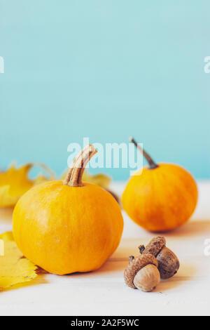 Mini Kürbisse auf weißer Tisch, gegen teal Hintergrund; Herbst/Halloween Hintergrund mit Kopie Raum - Stockfoto