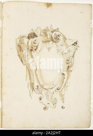 Design für den Wappenschild, mit Schädeln und Bücher, n.d., unbekannter Künstler, evtl. Italienisch oder Deutsch, Italien, Schwarze Kreide und Bürste und braunen Wash auf Elfenbein Bütten, 405 x 580 mm - Stockfoto