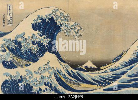 Unter der Welle von Kanagawa (Kanagawa oki Nami ura), die auch als die große Welle, aus der Serie 36 Ansichten des Berges Fuji (Fugaku sanjurokkei), 1830/33, Katsushika Hokusai 葛飾 北斎, Japanisch, 1760-1849, Japan, Farbe holzschnitt, Oban, 25,4 x 37,6 cm (10 x 14 3/4 in bekannten - Stockfoto