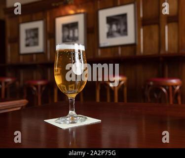 Glas Bier in einem Pub - Stockfoto